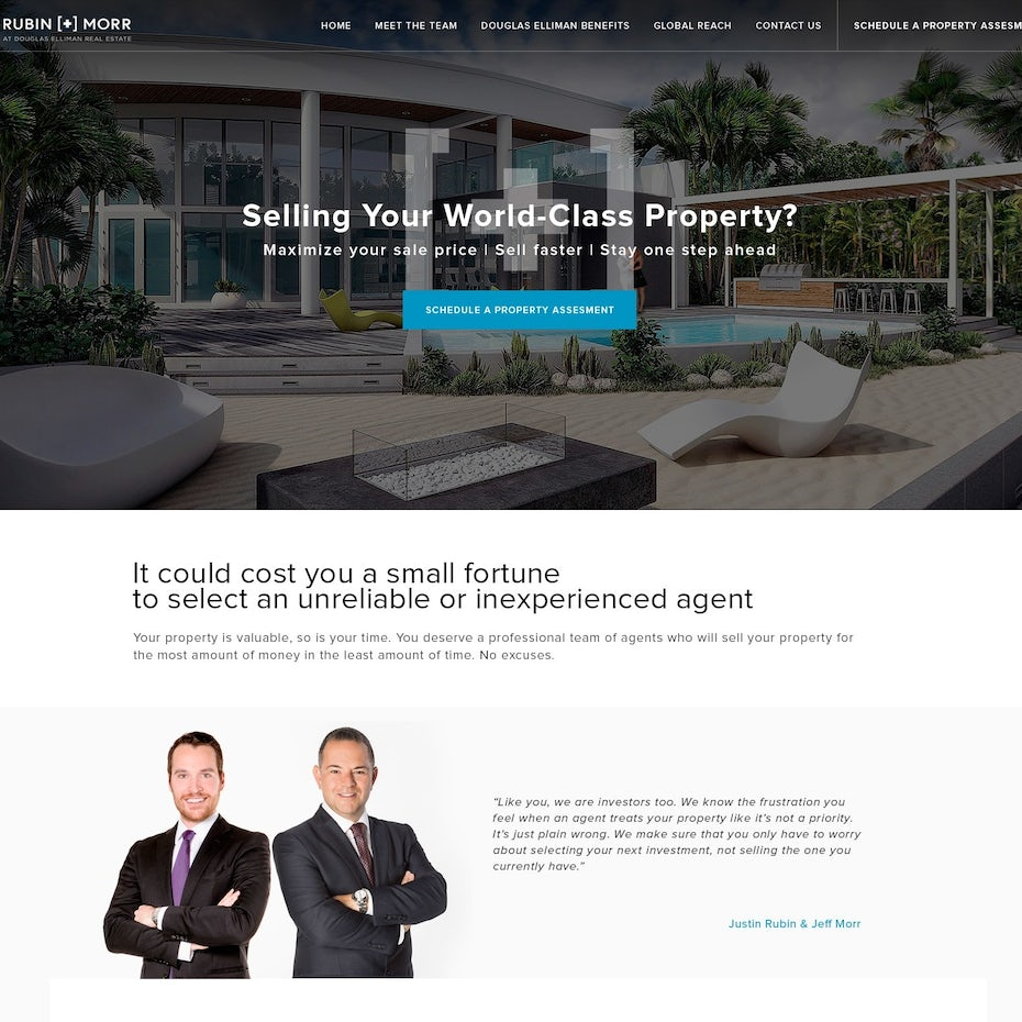 Gray-tinted website with a large image of a home with a pool followed by an image of two men