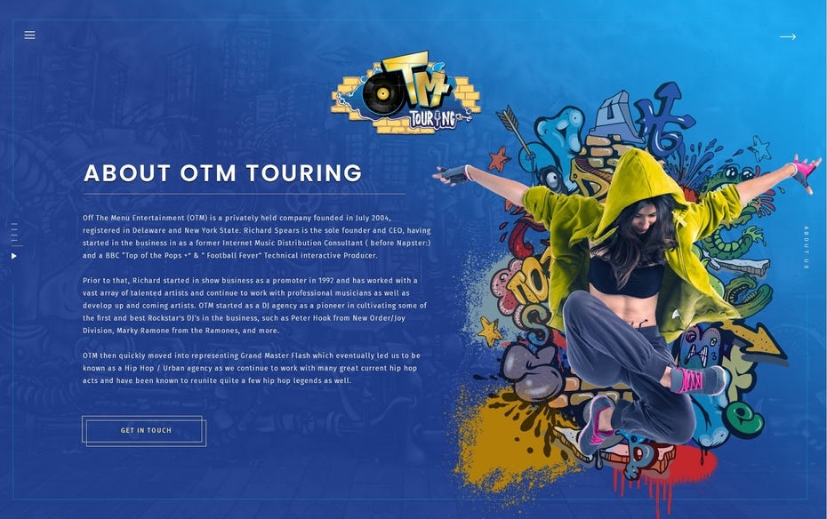 Street art style web design for a music agency