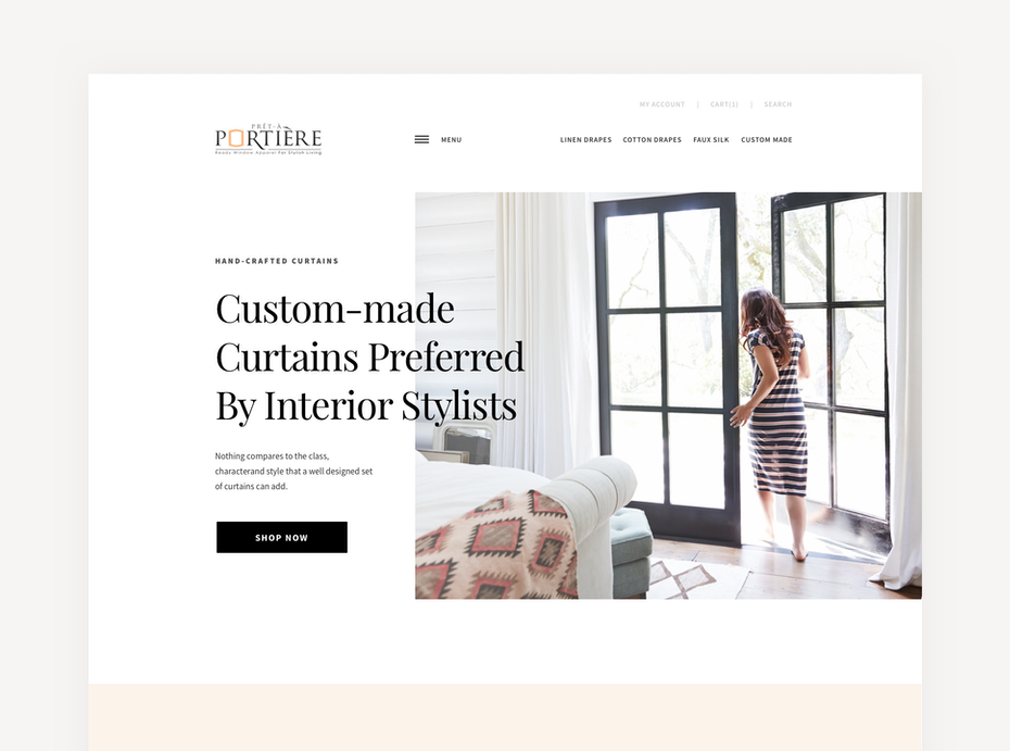Web design trends 2020 example: web design with white space framing around image
