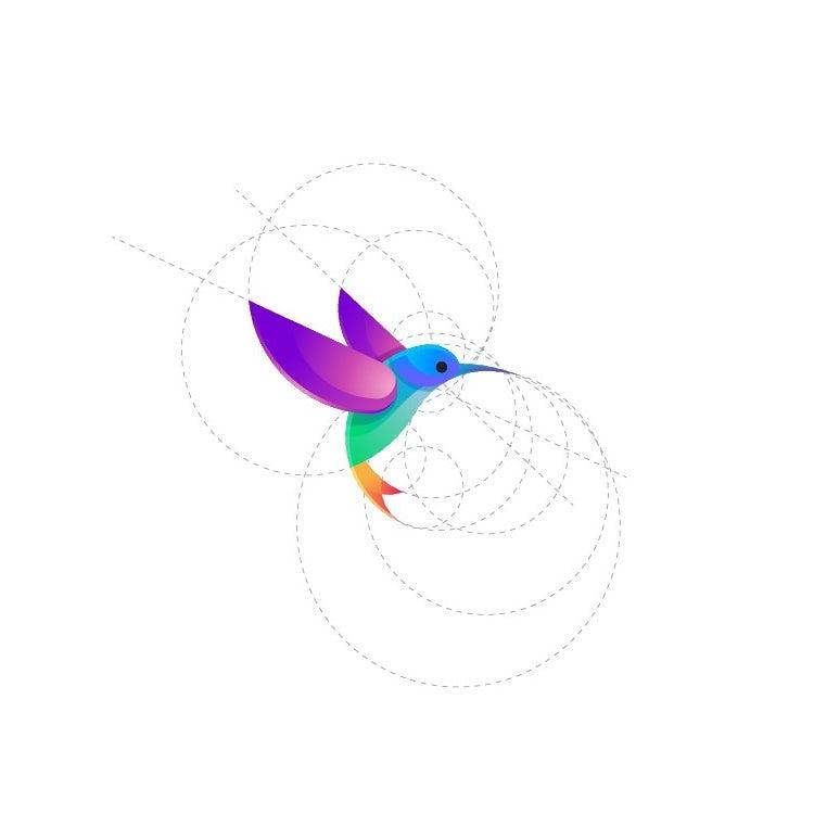Xu hướng thiết kế logo 2020 ví dụ: Hình ảnh nhiều màu của một con chim ruồi hình học