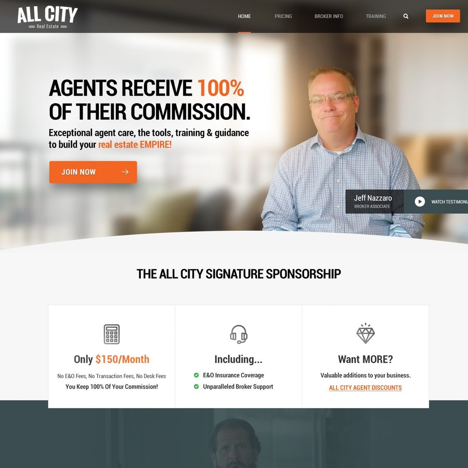 Gray and orange website with an image of a man