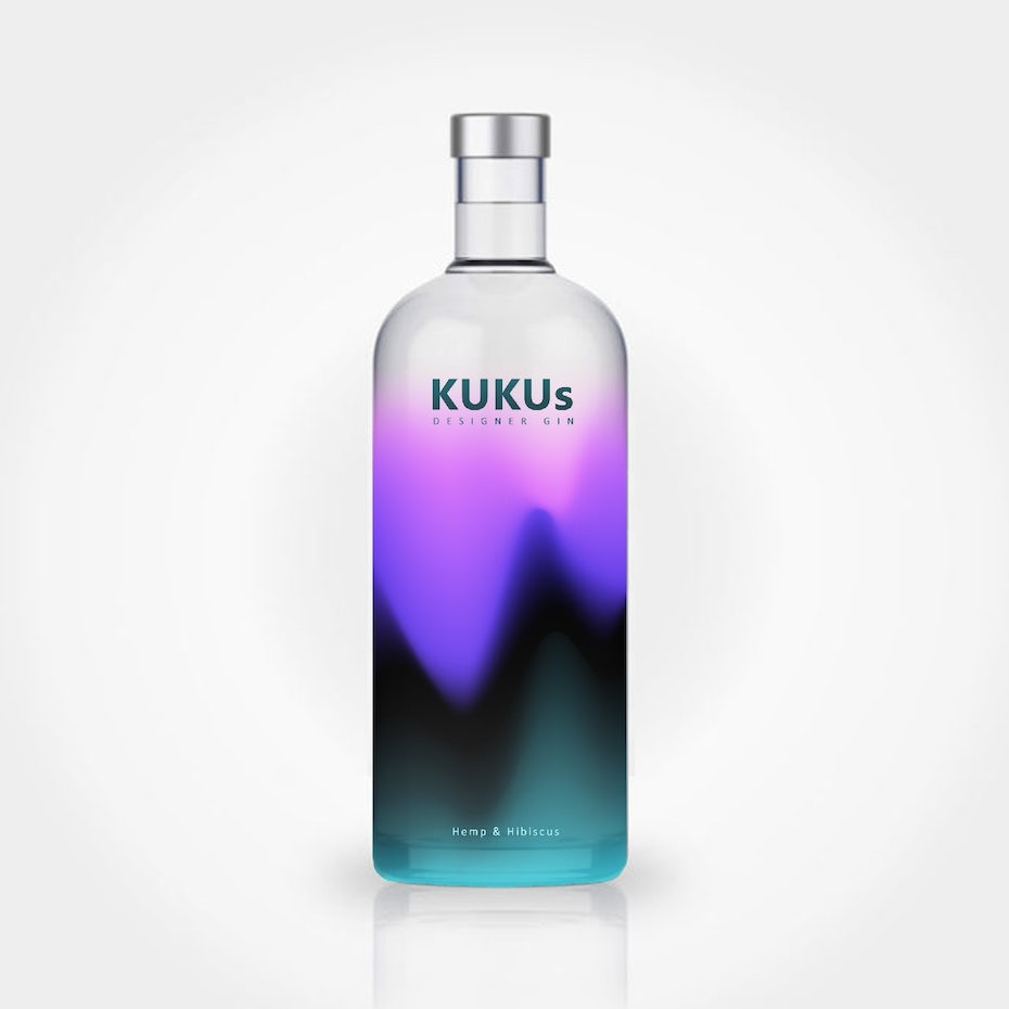 Packaging design trends 2020 example: colorful blurry bottle design