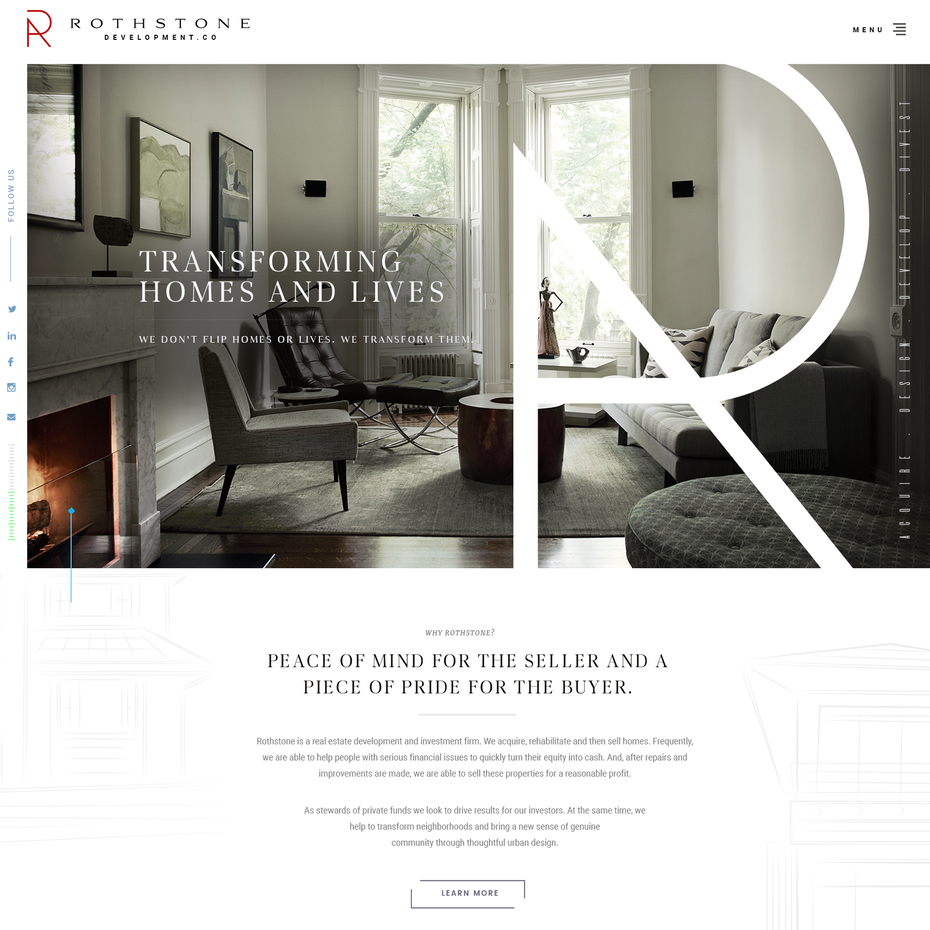 Black-rimmed website showing luxury interiors