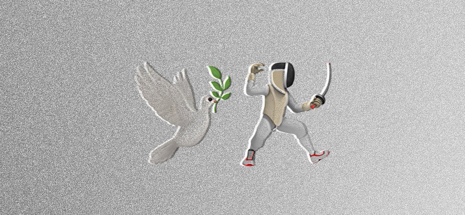 Graphic design trends 2020 example: duel of doves logo with bevel effect