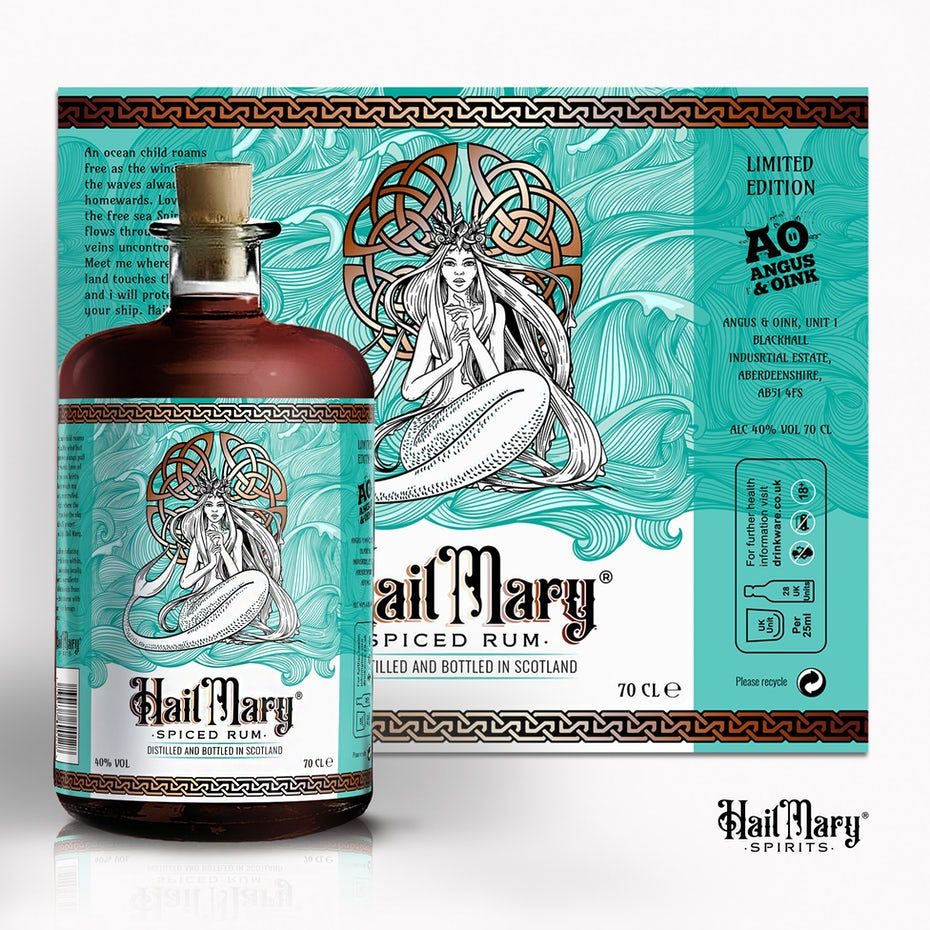 Graphic design trends 2020 example: Teal label design with a mermaid illustration and celtic symbol