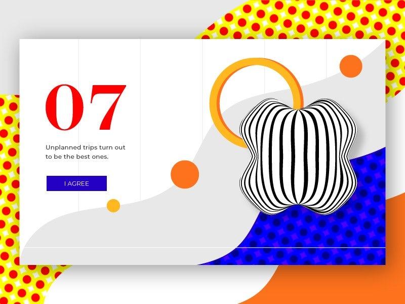 Ejemplo de tendencias de diseño gráfico 2020: ilustración geométrica orgánica y abstracta para una página web