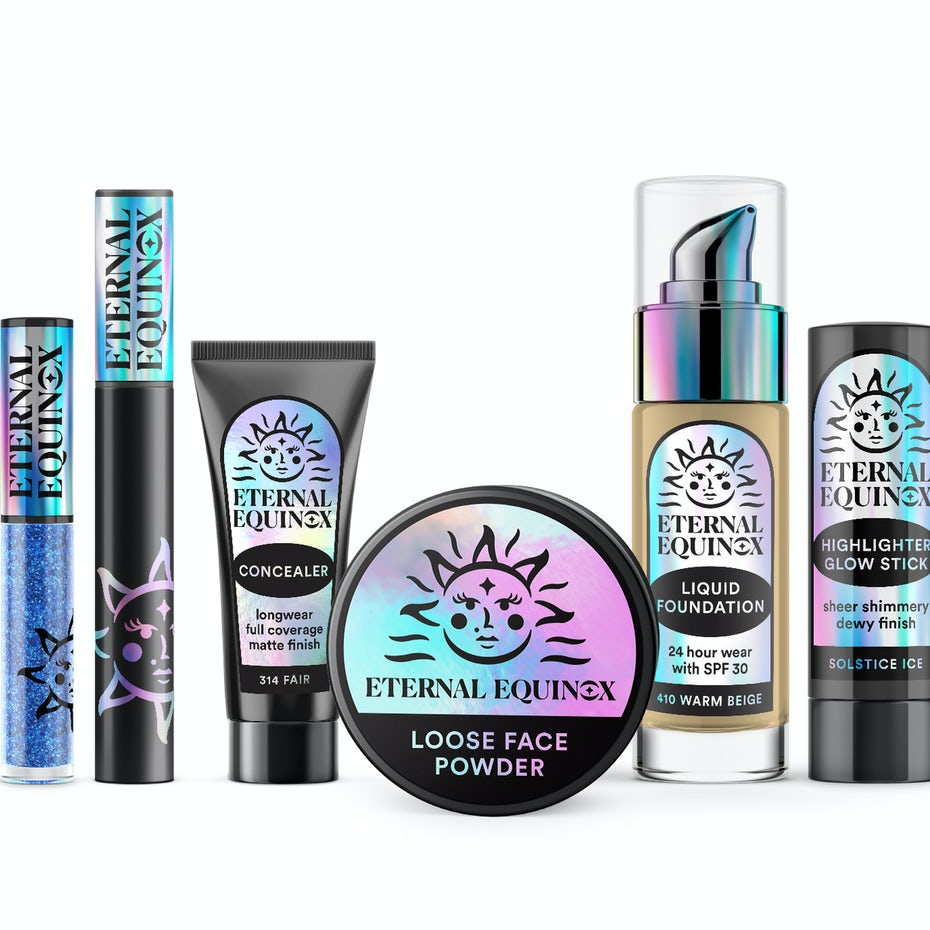 Packaging design trends 2020 example: Eternal Equinox Cosmetics holographic packaging