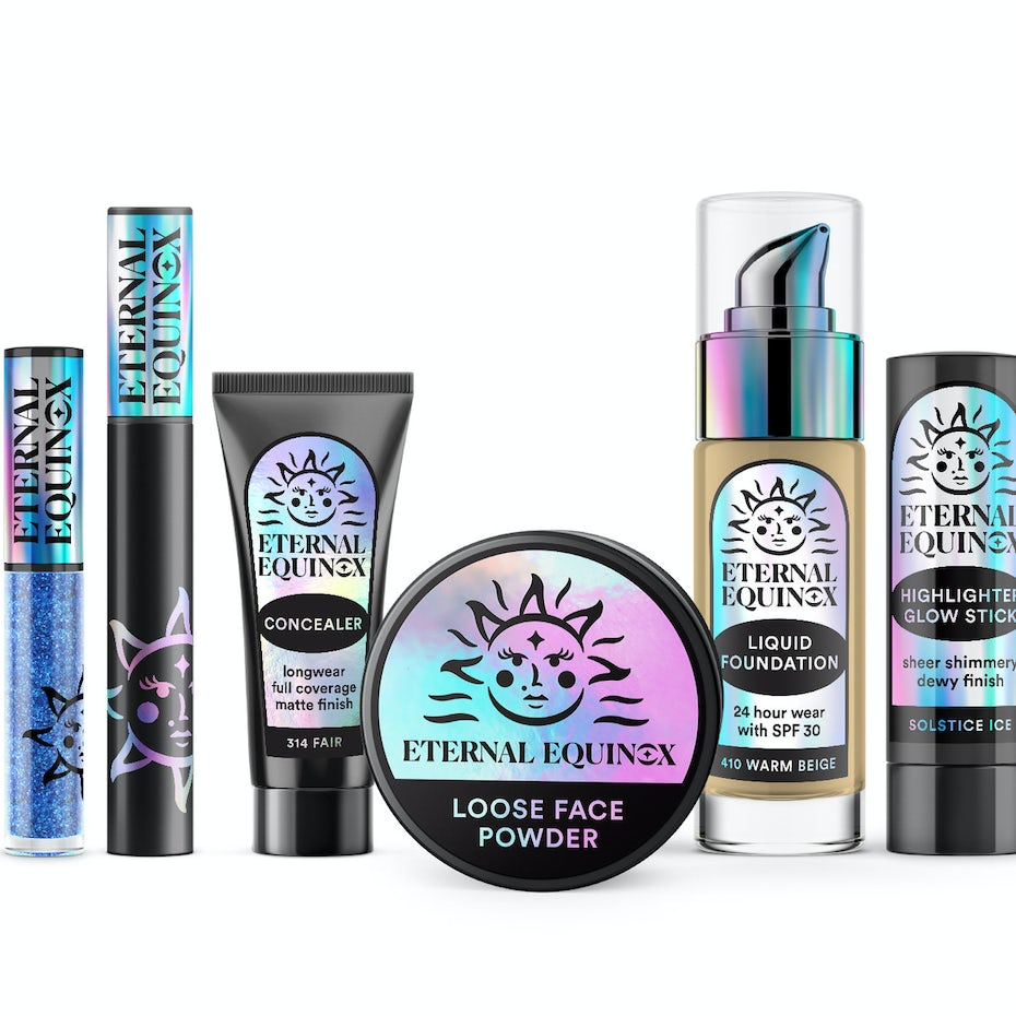 Eternal Equinox Cosmetics holographic packaging