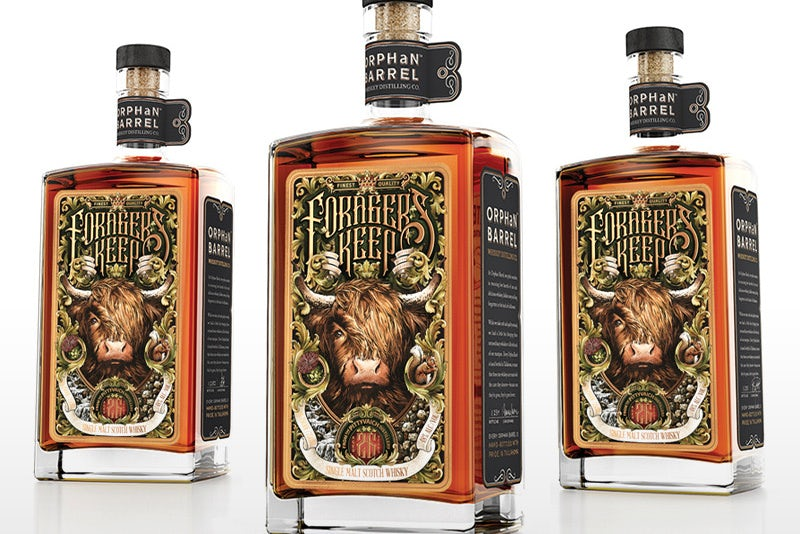 Packaging design trends 2020 example: maximalist Forager's Keep by Orphan Barrel Whiskey Co. label