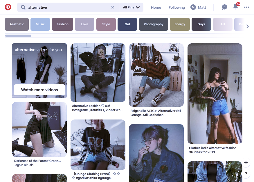 Digital marketing trend 2020 example: Screenshot of Pinterest