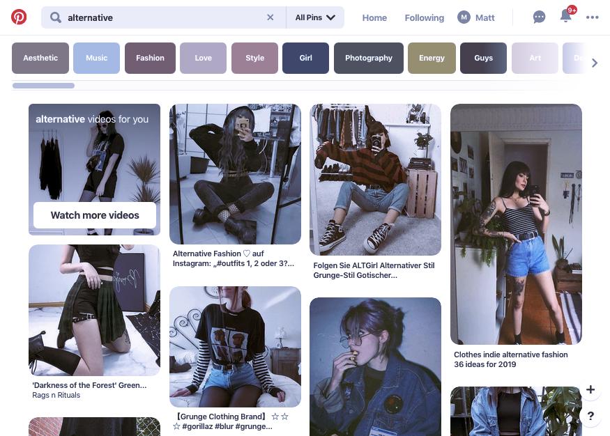 Ejemplo de tendencia de marketing digital 2020: captura de pantalla de Pinterest