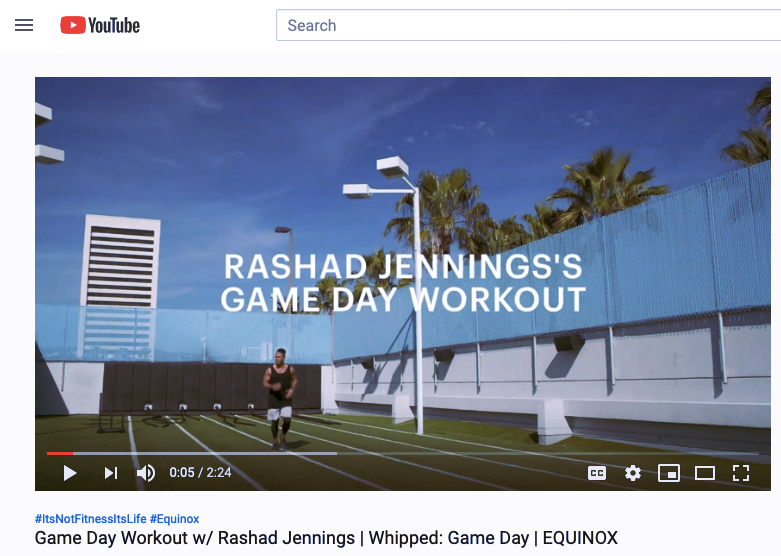 Ejemplo de tendencia de marketing digital 2020: captura de pantalla de un vlog de YouTube de Equinox Fitness, Game Day Workout