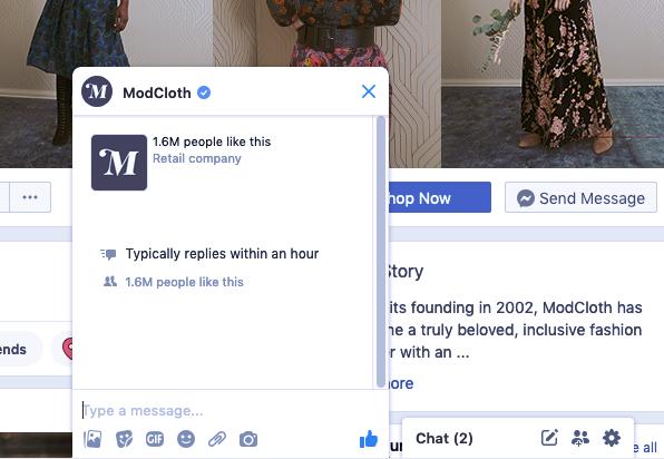 Ejemplo de tendencia de marketing digital 2020: captura de pantalla de un ModCloth usando la aplicación de mensajería para marketing.