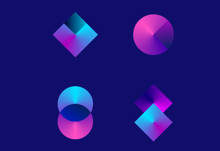 logo trend: Geometric shapes with tapered gradients