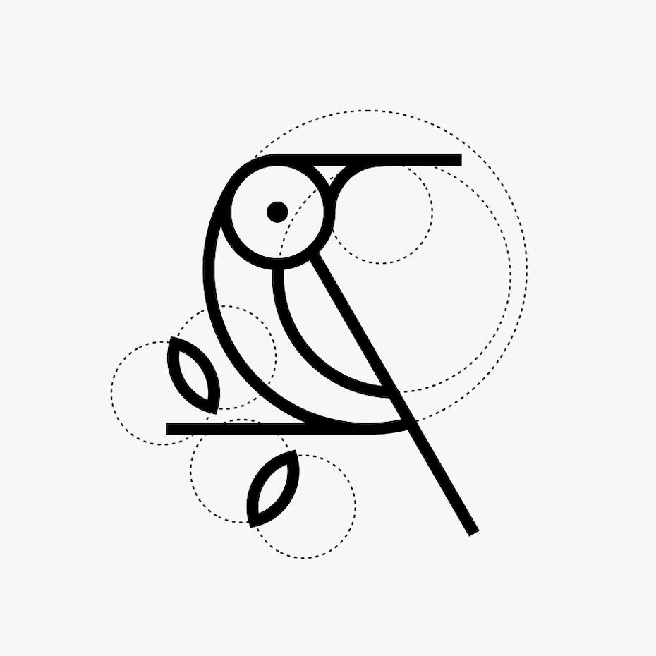 Ví dụ về xu hướng thiết kế logo: logo chim trừu tượng với các đường phụ trợ có thể nhìn thấy
