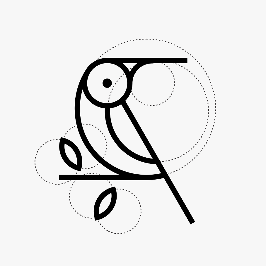 abstratc bird logo with visible auxiliary lines