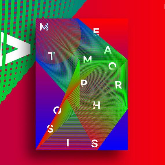 Ejemplo de tendencias de diseño gráfico 2020: cartel abstracto y geométrico con colores surrealistas