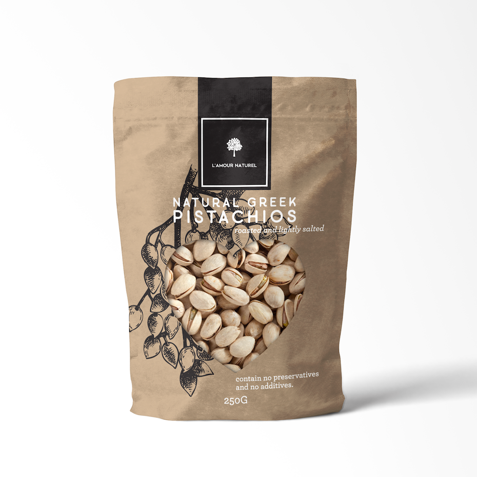 Packaging design trends 2020 example: pastel brown pistachio packaging