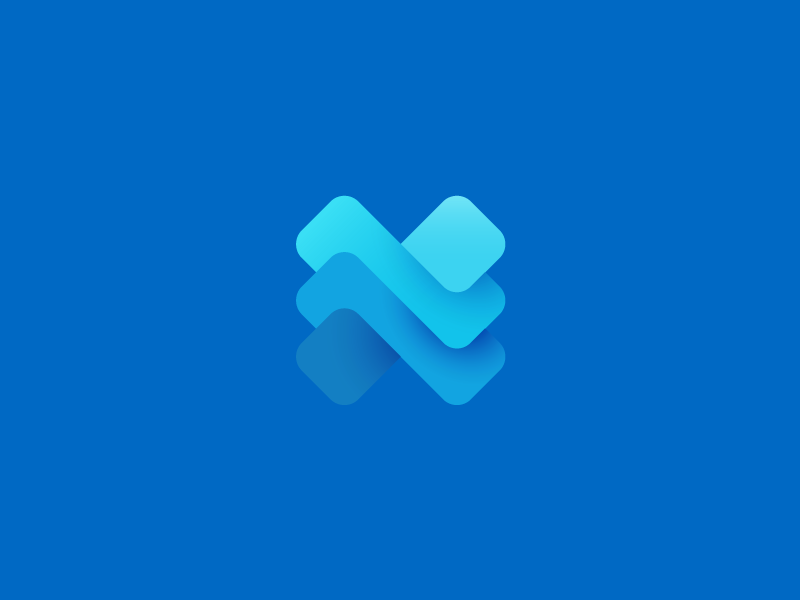 Logo design trends 2020 example: Abstract X-shaped logo in blue with multiple colors