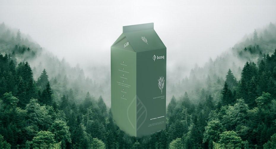 verpackungstrend einfarbigkeit: minimalistisches grünes einfarbiges Verpackungsdesign