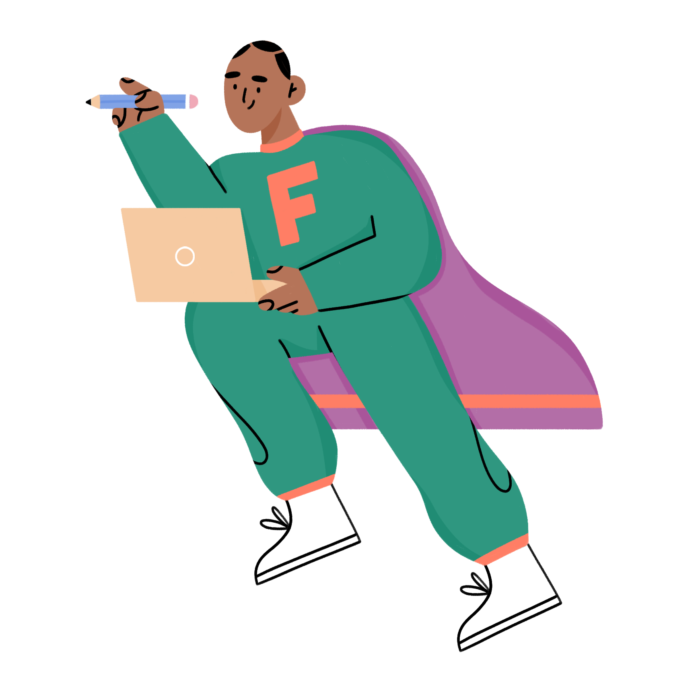 character illustration of freelancer superhero