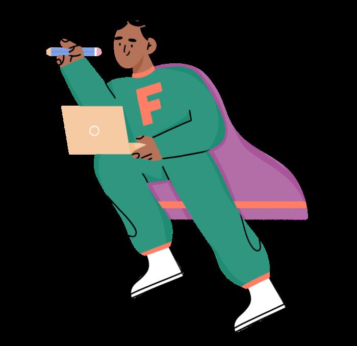 character illustration of freelancer superhero
