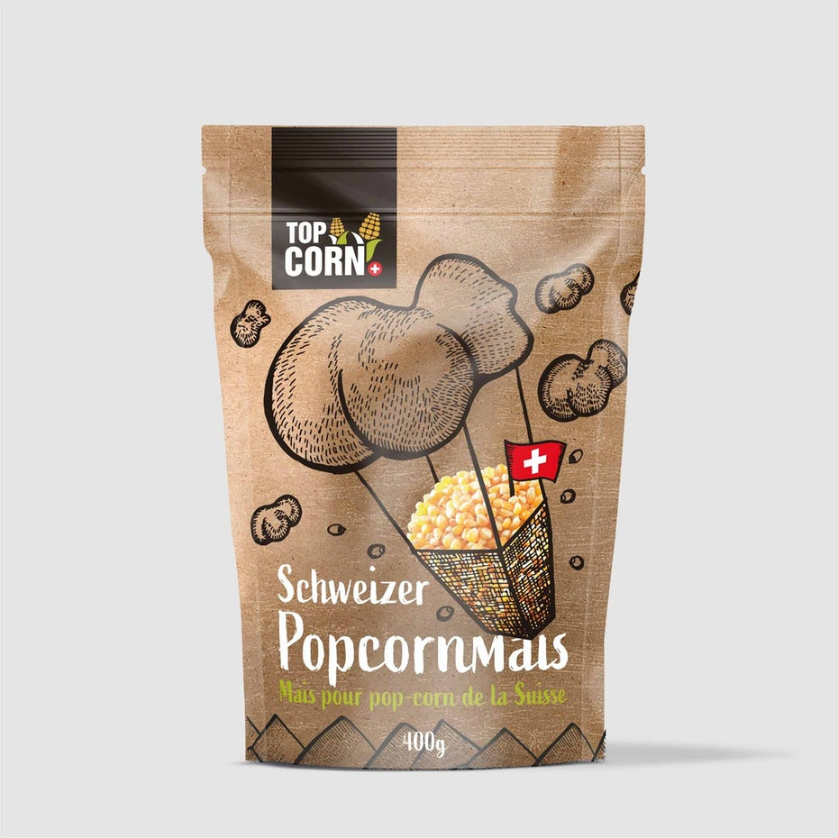 Packaging design trends 2020 example: popcorn packaging with balloon illustration