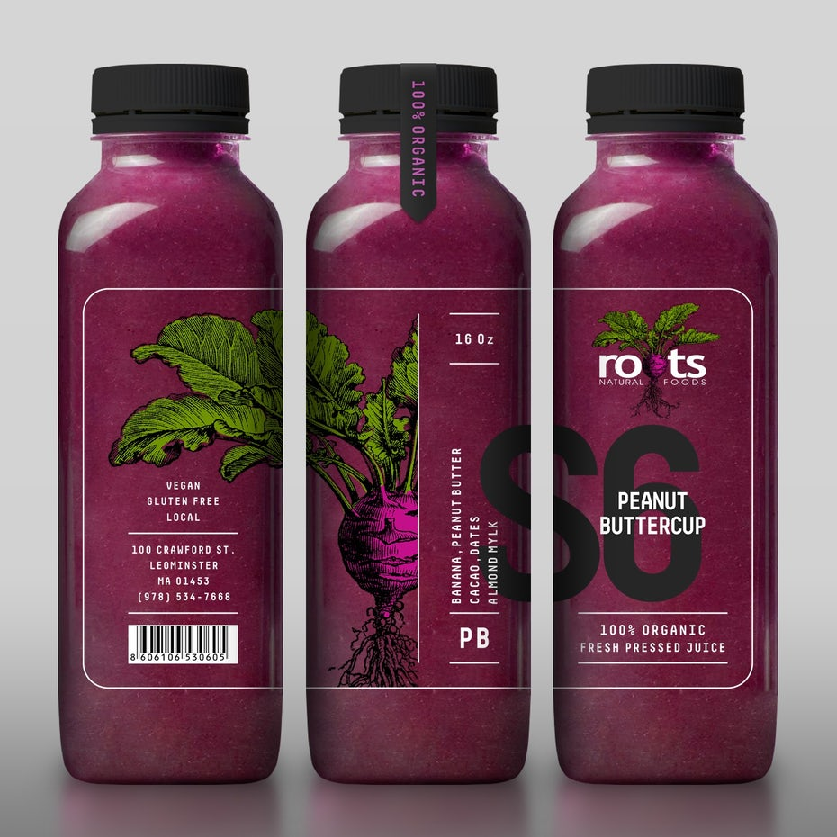 transparent bottle design with beetroot illustration