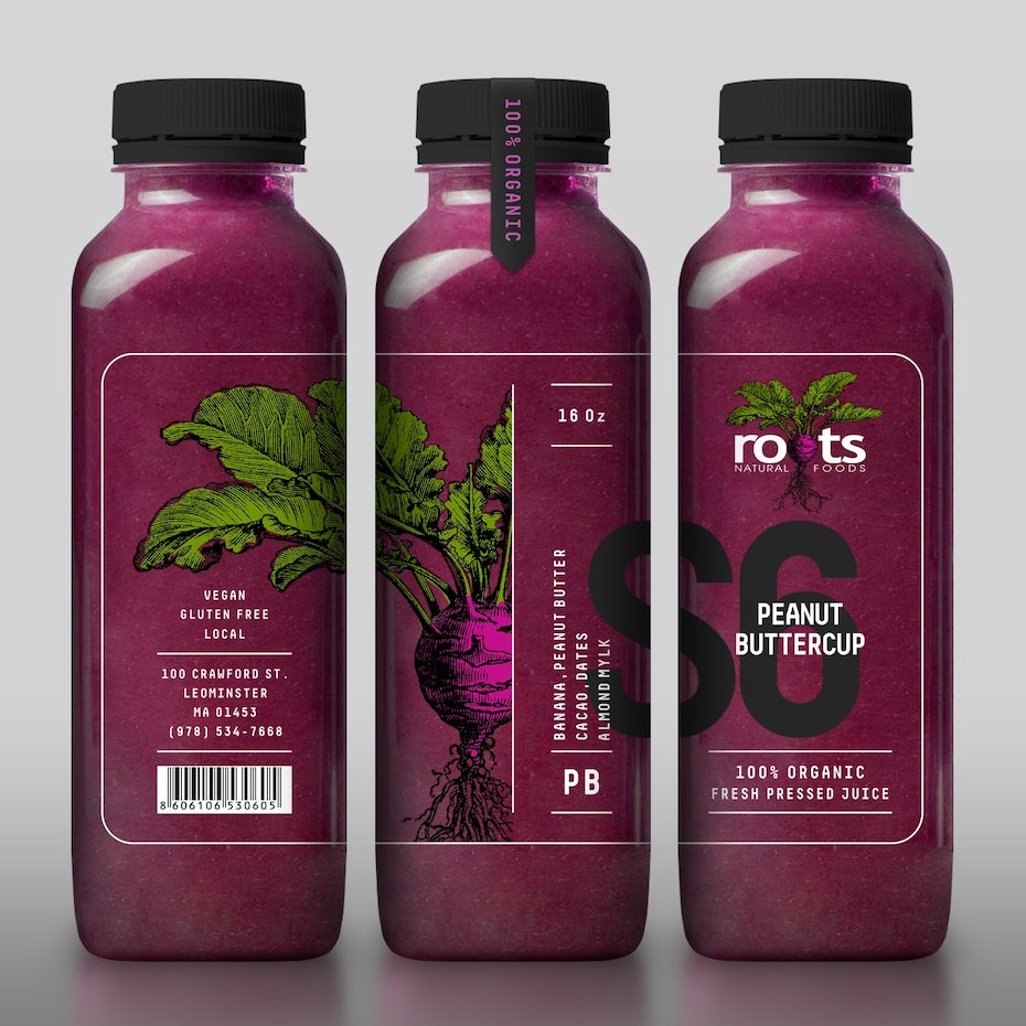 Packaging design trends 2020 example: transparent bottle design with beetroot illustration