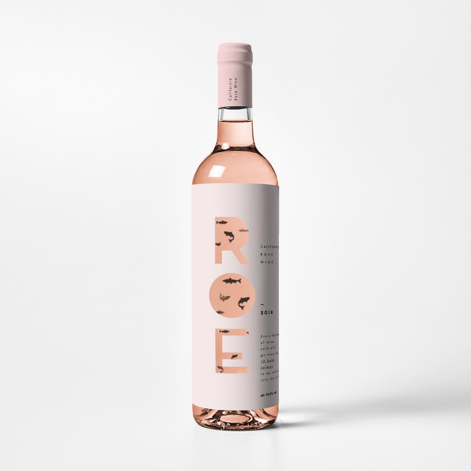 Packaging design trends 2020 example: wine label design with transparent cut outs