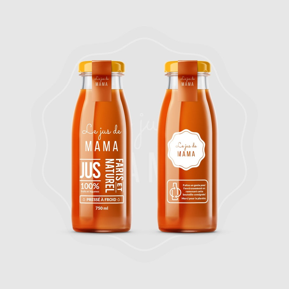 Packaging design trends 2020 example: transparent juice bottle design