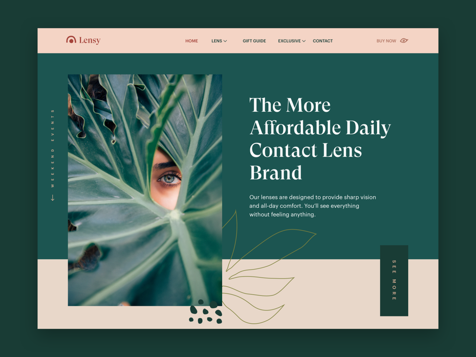 Font trends 2020 example: Serif font for a website header design