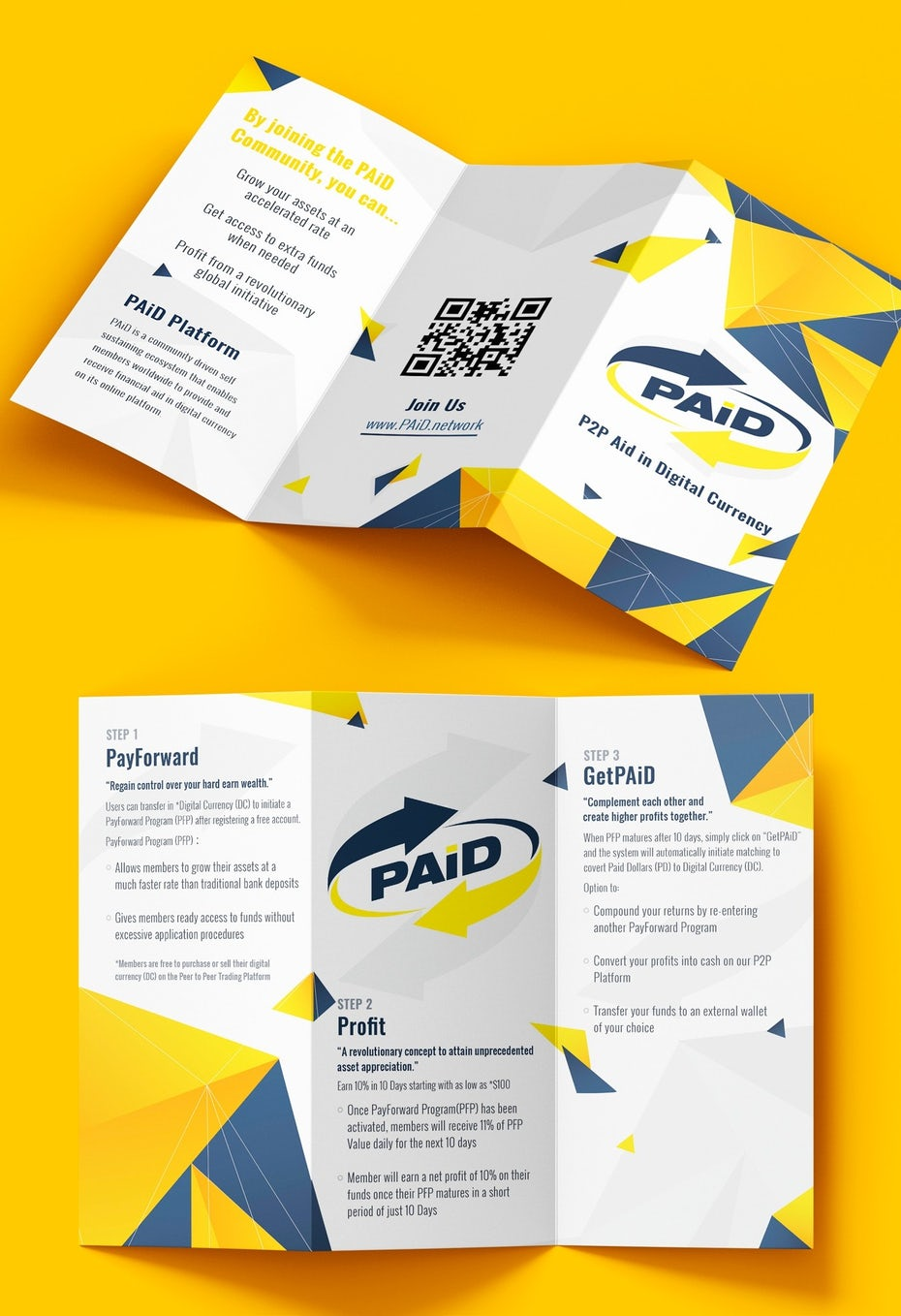 Branding trends 2020 example: Digital currency brochure