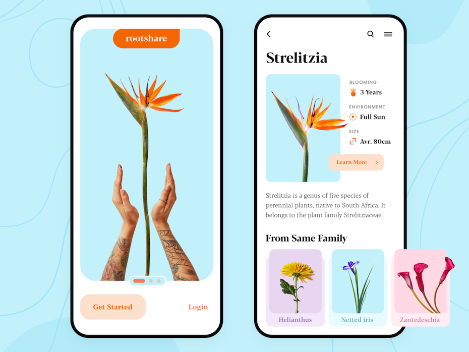 gardening app showing bright images of plants and human hands