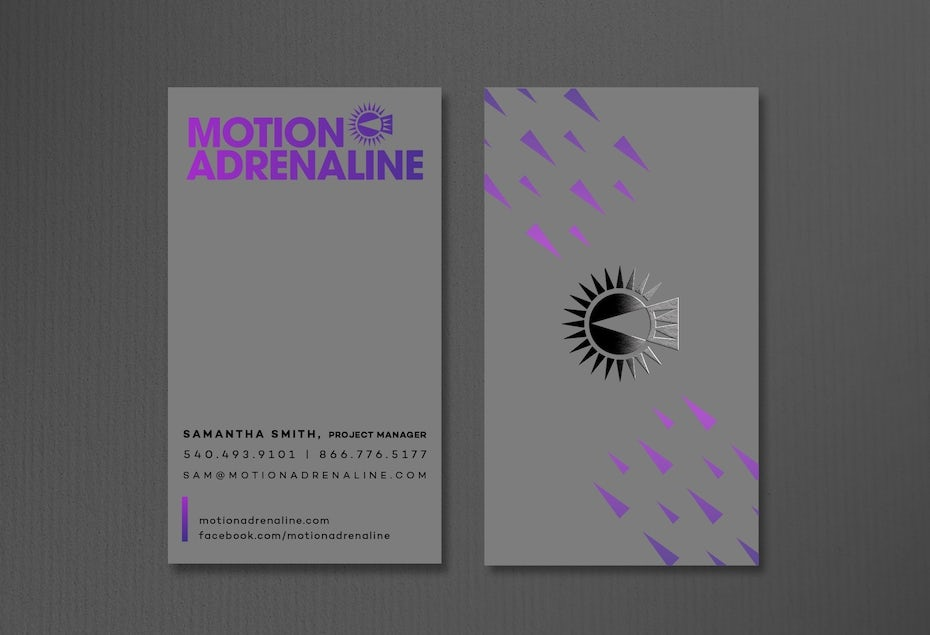 Business cards trends 2020 example: motion and adrenaline business card