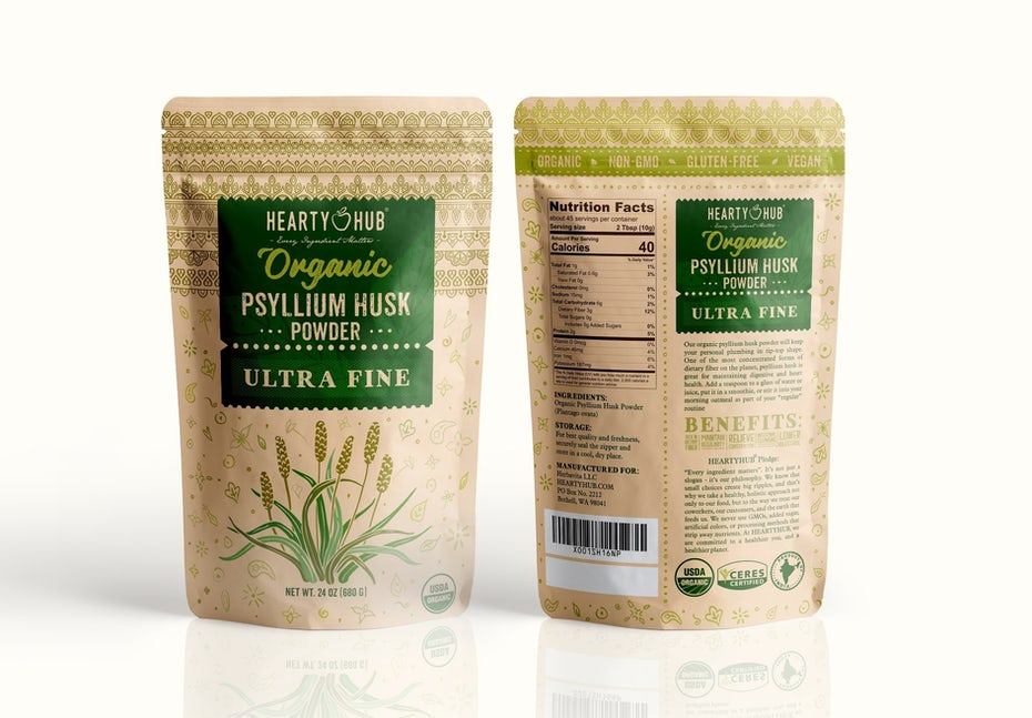 Branding trends 2020 example: Organic psyllium husk powder packaging