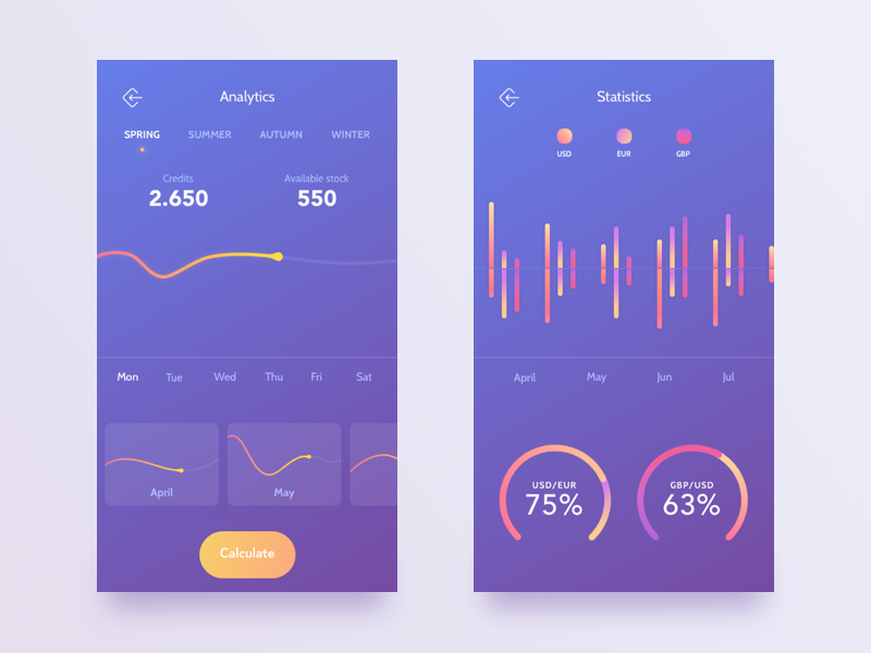 soft purple currency app interface