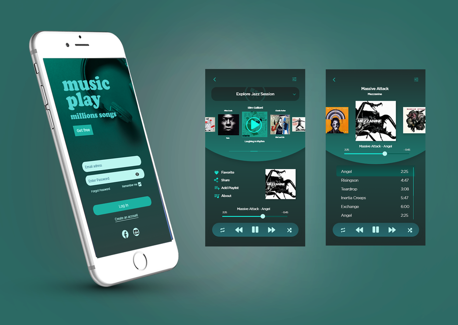 green-colored music player app