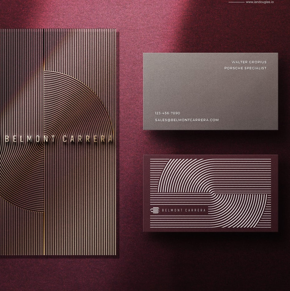 Business cards trends 2020 example: belmont carrera purple business card