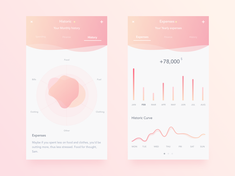 white and pink finance app interface