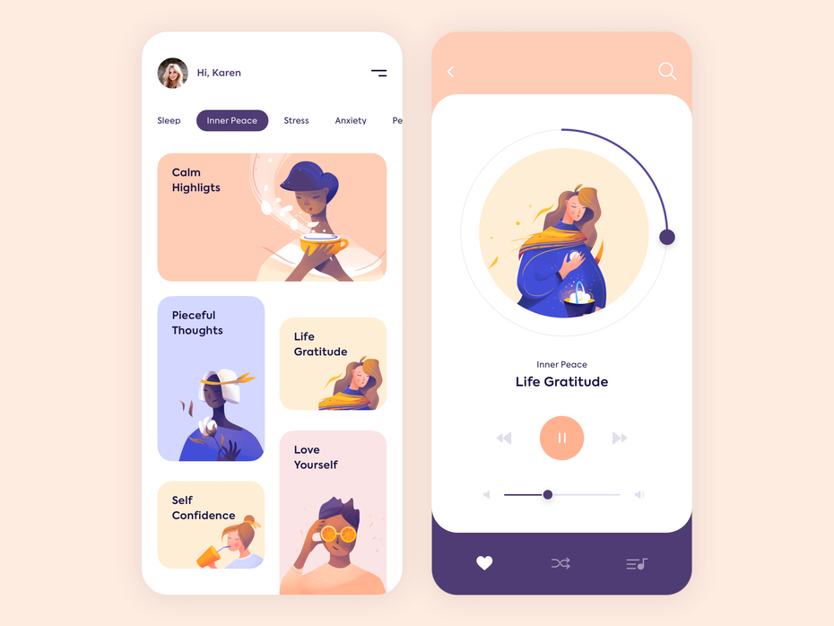 mindfulness app with soft-colored images of women engaged in various mindful exercises