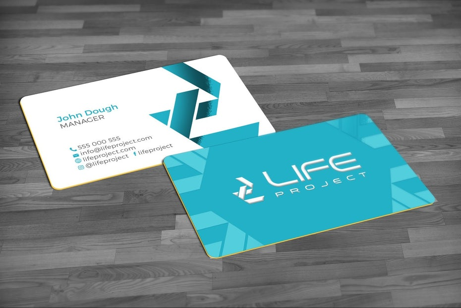 Business cards trends 2020 example: bright colors business card