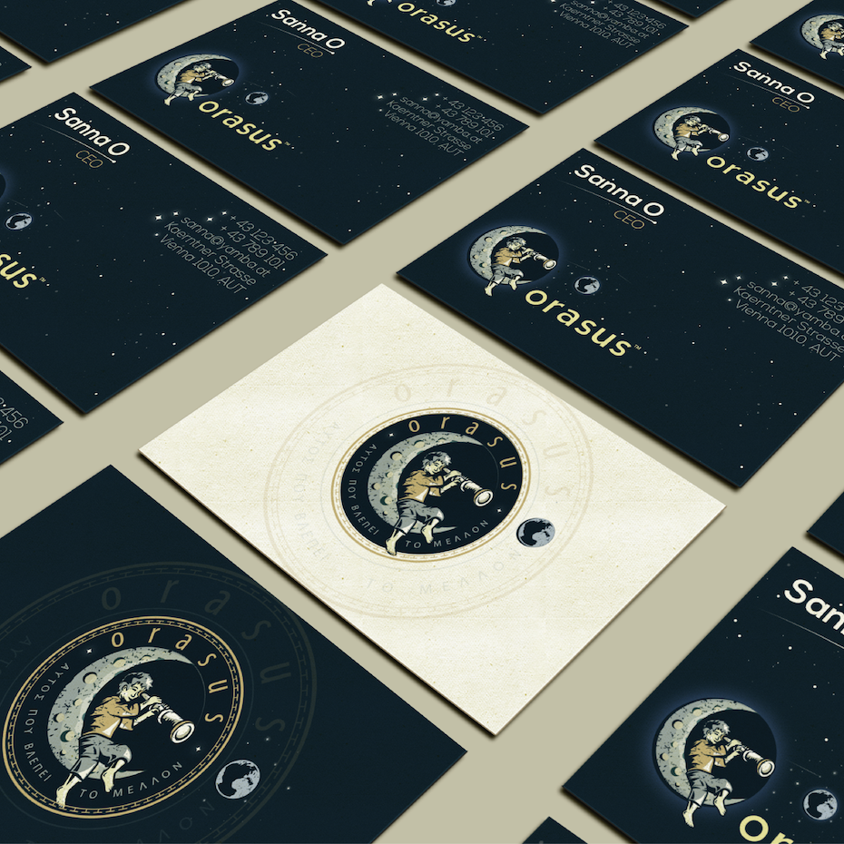 Business cards trends 2020 example: Child on moon illustration business card