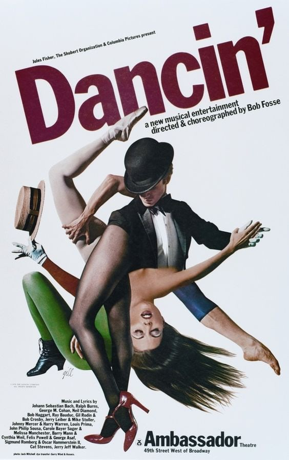 Dancin' Bob Fosse playbill poster by Bob Gill