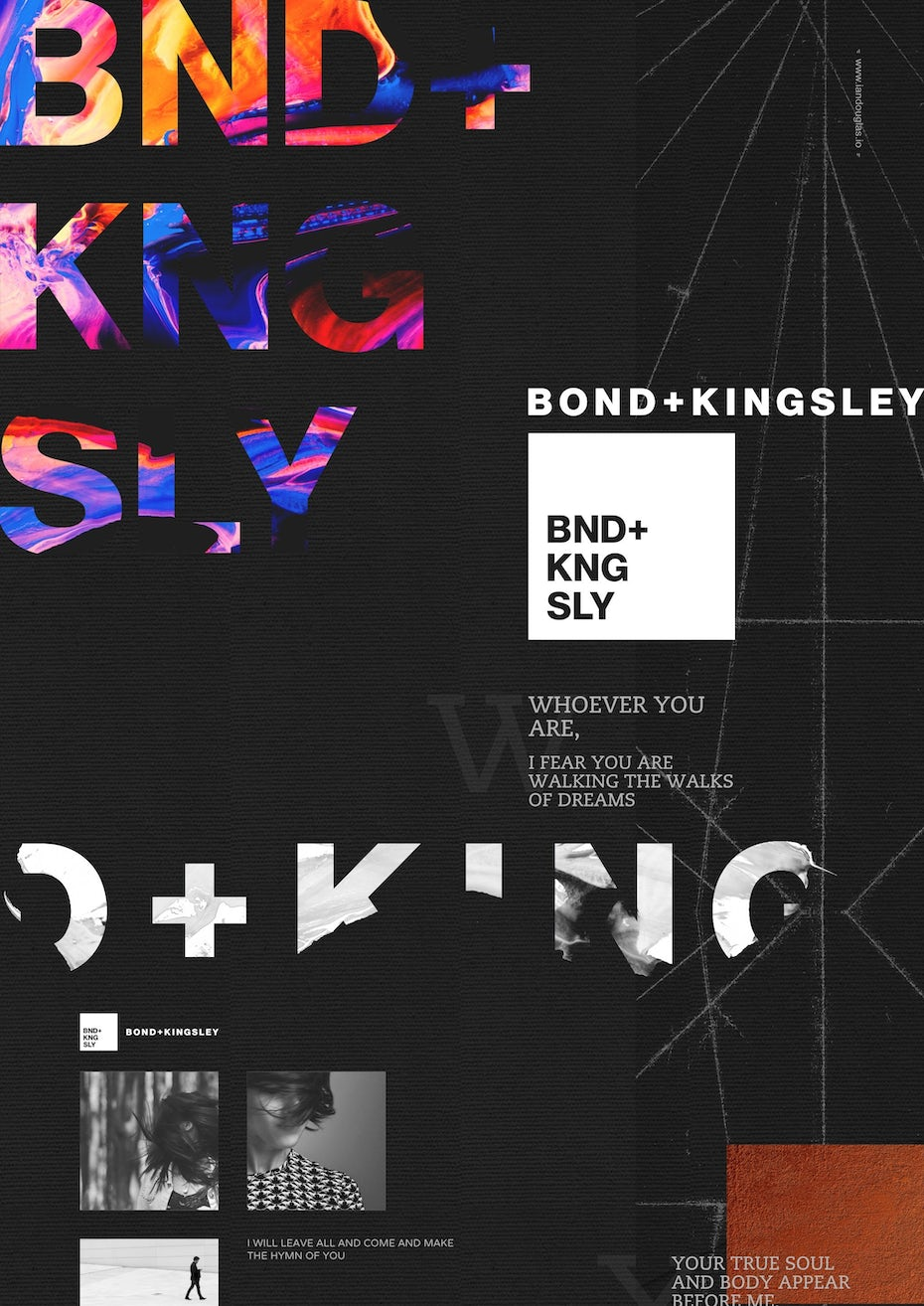 Color trends 2020 example: dark mode Bond + Kingsley branding