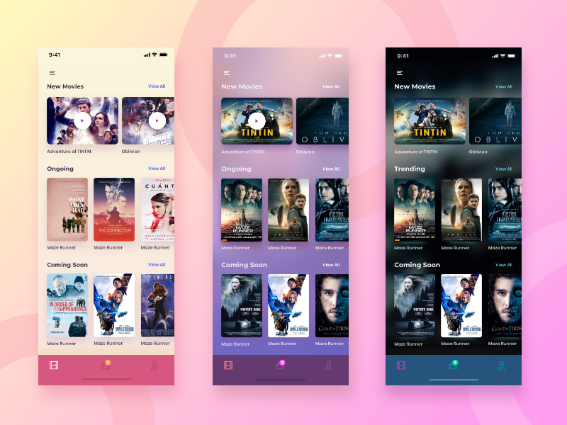 multiple screen color options for a movie app