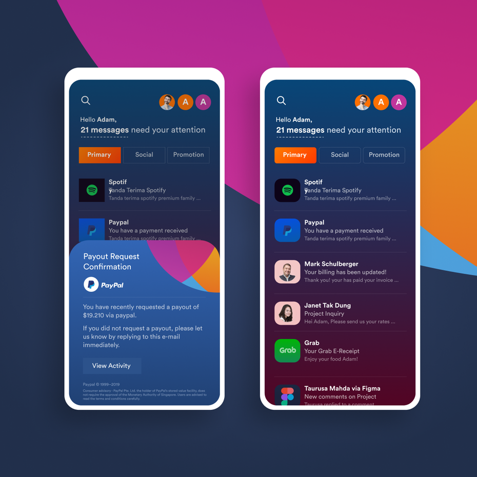 Color trends 2020 example: dark mode Email app design