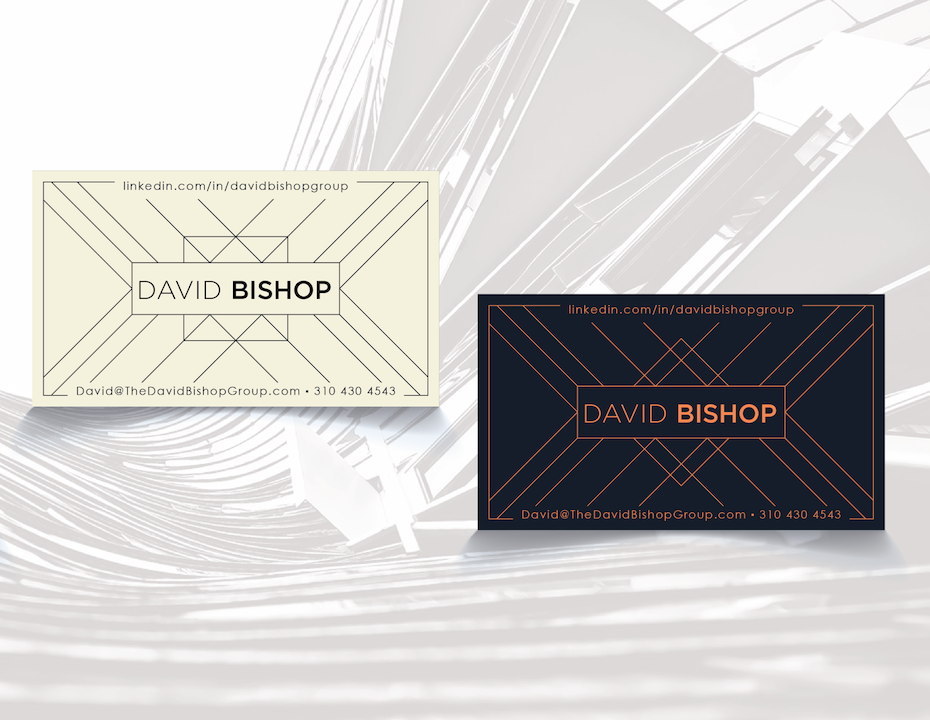 Business cards trends 2020 example: david bishop business card