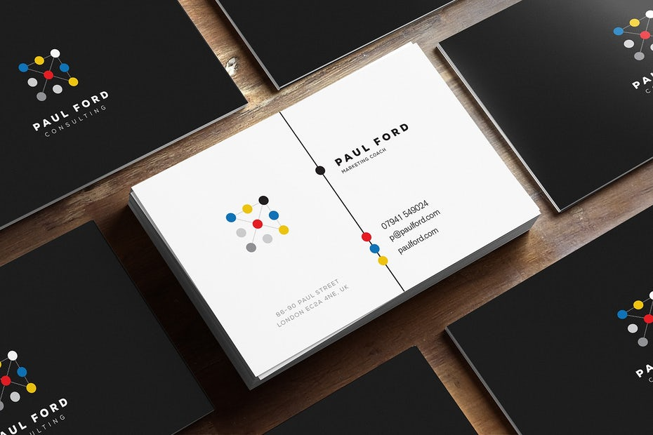 Business cards trends 2020 example: connecting dots business card