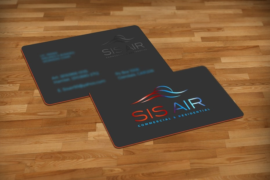 Business cards trends 2020 example: red black and blue real estate business card